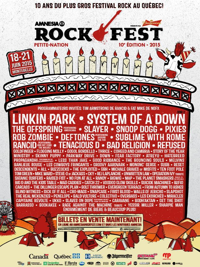 Rockfest 2015 lineup. Full lineup including System of a Down, Linkin Park, Snoop Dogg, Slayer and more.