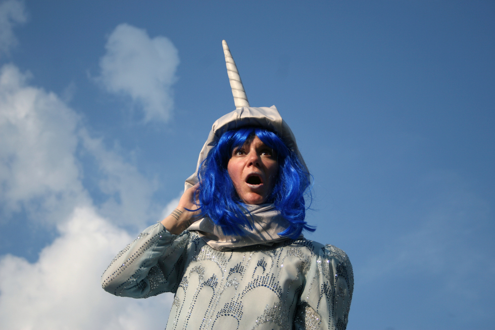Lise Vigneault as Ladyfest Montreal host Narwhal (photo by Kathy Slamen)