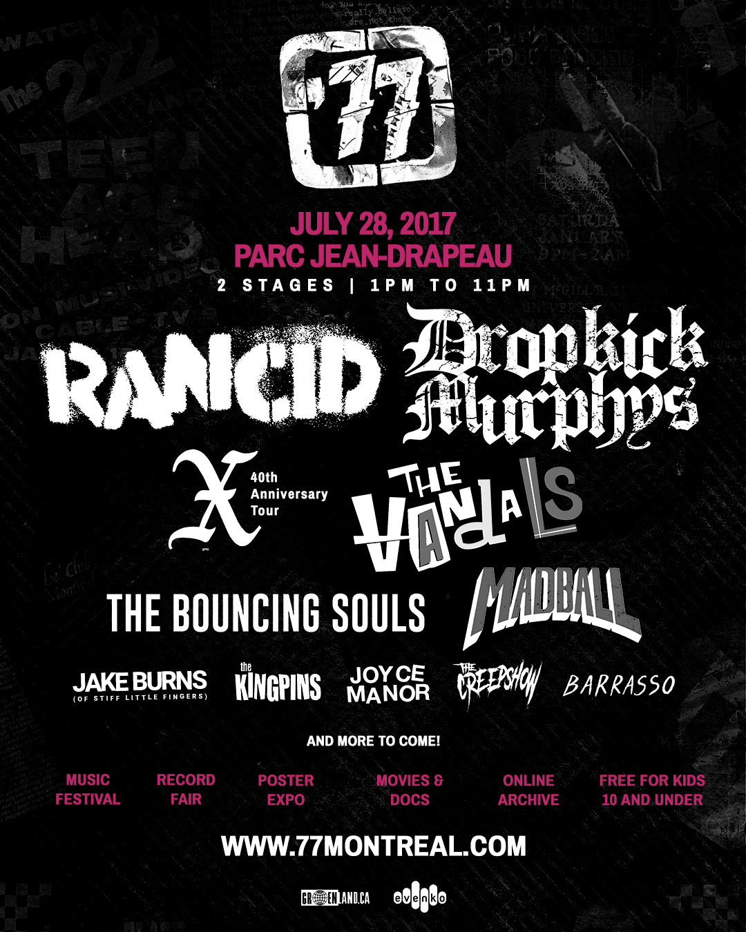 Montreal's '77 Fest to feature Rancid, Dropkick Murphys, X, The Bouncing Souls, The Vandals, Madball, Joyce Manor and more (+ win tix!) jake burns, stiff little fingers, the kingpins, the creepshow, barrasso, new, lineup, montreal, parc jean drapeau