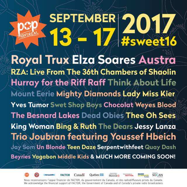 POP Montreal announces first wave of artists for the 2017 lineup (Royal Trux, RZA, Hurray for the Riff Raff and many more) 1