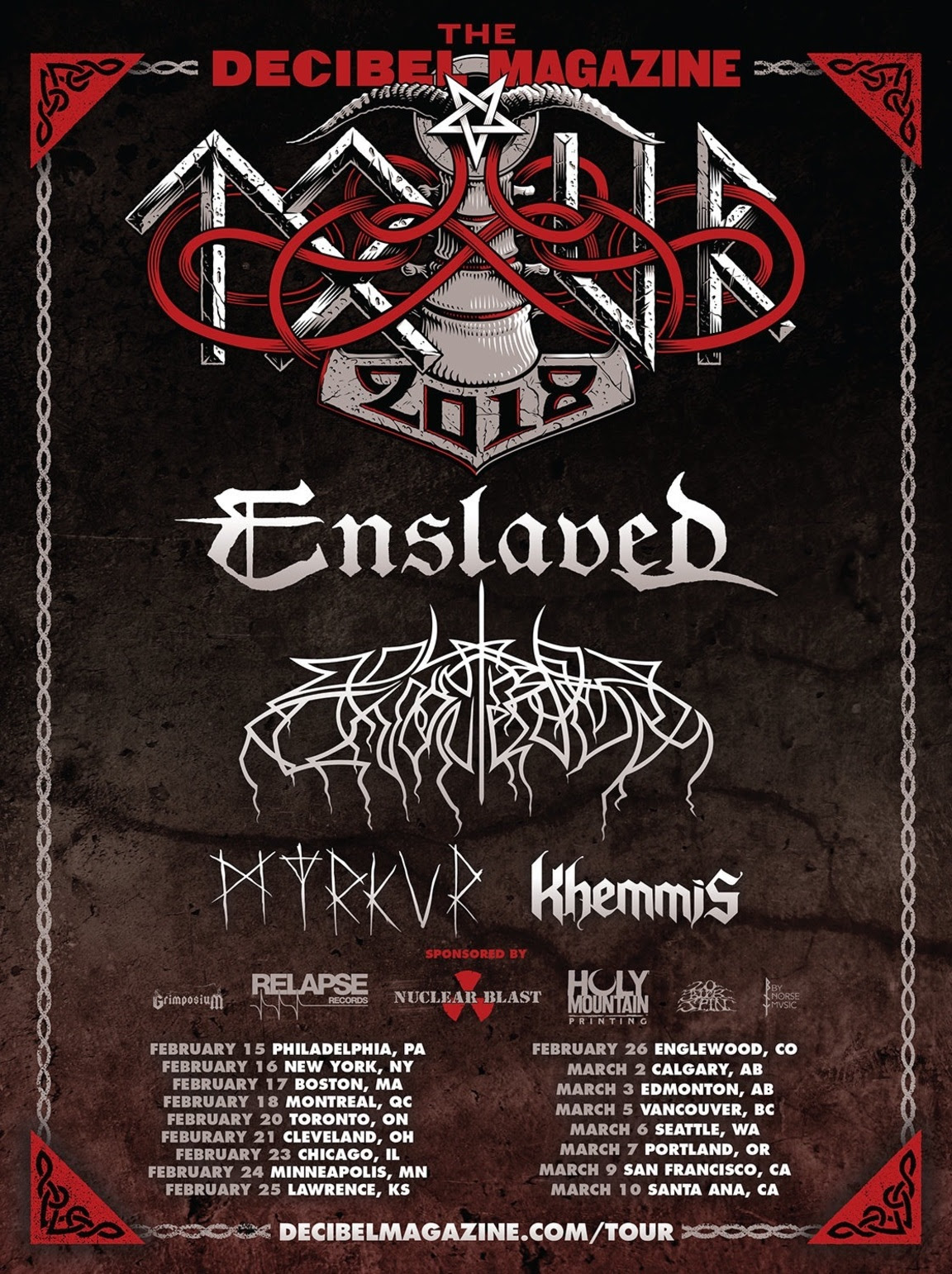 2018's Decibel Tour to feature Enslaved, Wolves in the Throne Room, Myrkur and Khemmis (Montreal Feb. 18) 1