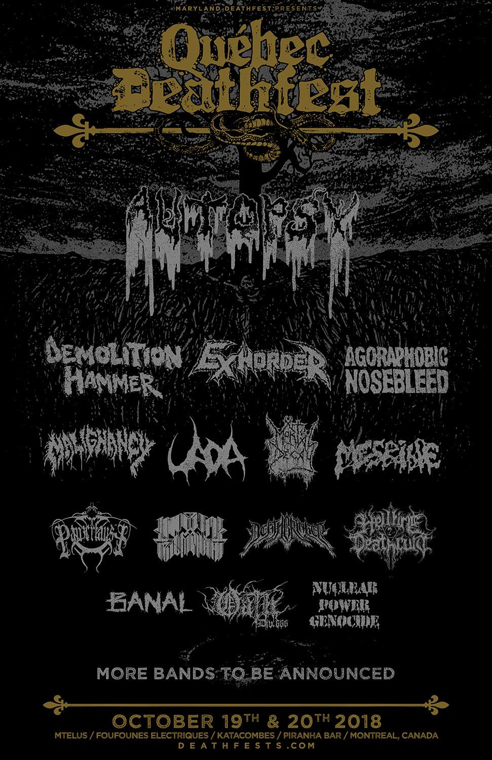 Quebec Deathfest announces initial lineup (Autopsy, Demolition Hammer, Exhorder, and more)