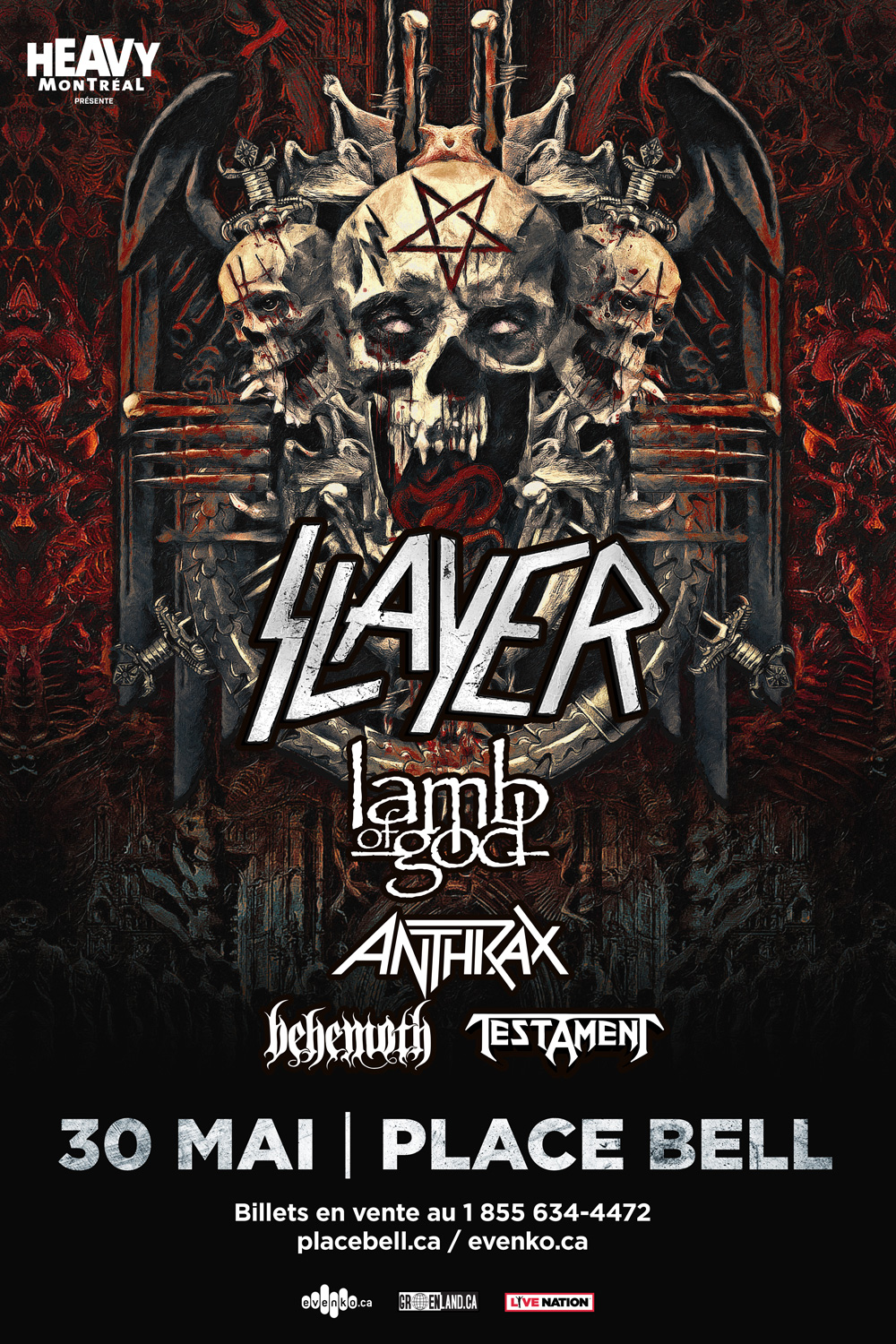 Win a pair of tickets to see Slayer with Lamb of God, Behemoth, Anthrax and Testament in Laval May 30